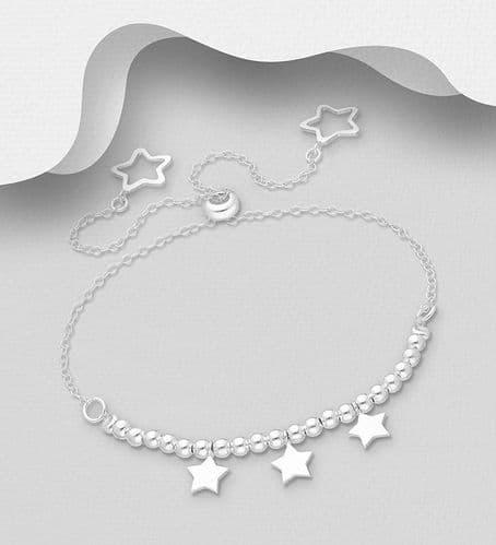 925 Sterling Silver Adjustable Star Bracelet